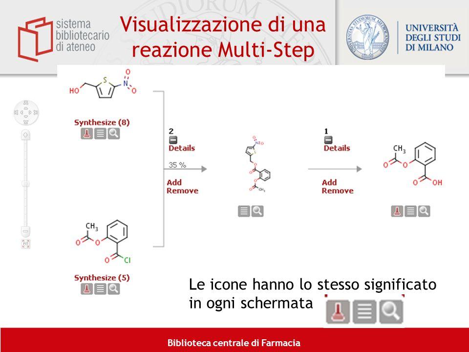 Biblioteca centrale di Farmacia Le icone hanno lo stesso significato in ogni schermata Visualizzazione di una reazione Multi-Step