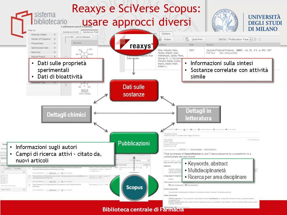 Biblioteca centrale di Farmacia Reaxys e SciVerse Scopus: usare approcci diversi 6 Dati sulle sostanze Pubblicazioni Ricerca chimica Ricerca bibliogra