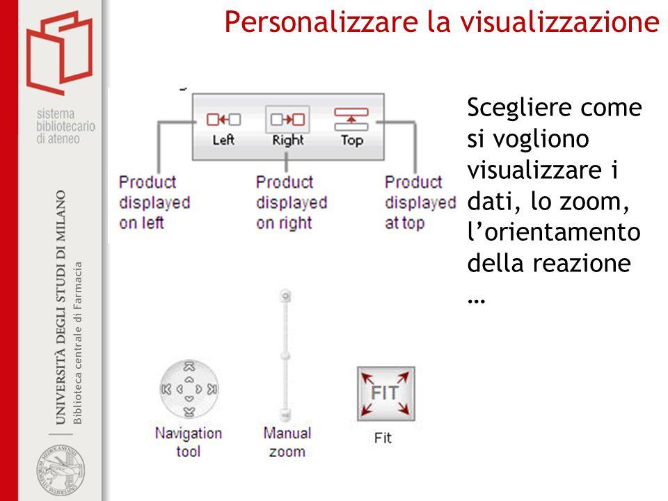 Biblioteca centrale di Farmacia Personalizzare la visualizzazione Scegliere come si vogliono visualizzare i dati, lo zoom, lorientamento della reazion
