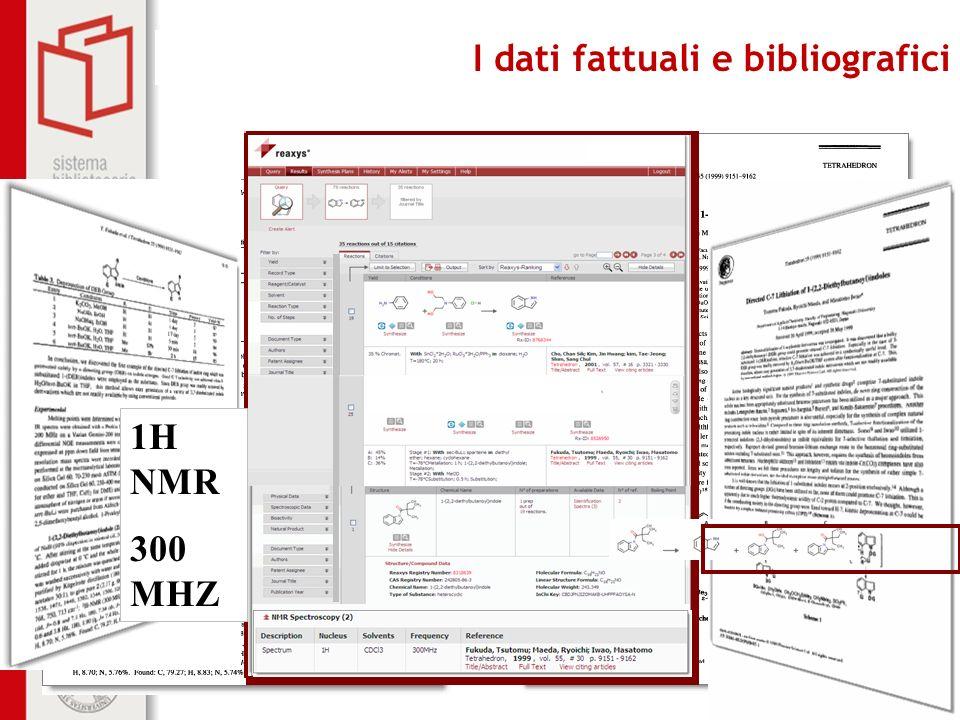 Biblioteca centrale di Farmacia I dati fattuali e bibliografici 1H NMR 300 MHZ