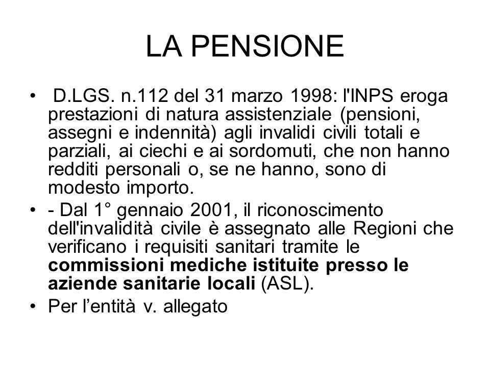 LA PENSIONE D.LGS. n.112 del 31 marzo 1998: l'INPS eroga prestazioni di natura assistenziale (pensioni, assegni e indennità) agli invalidi civili tota