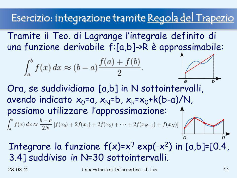 28-03-11Laboratorio di Informatica - J. Lin1428-03-11 Tramite il Teo.