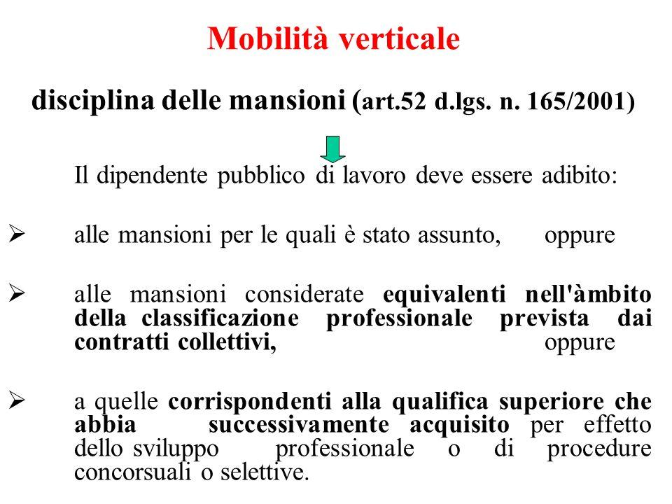 Mobilità verticale disciplina delle mansioni ( art.52 d.lgs.