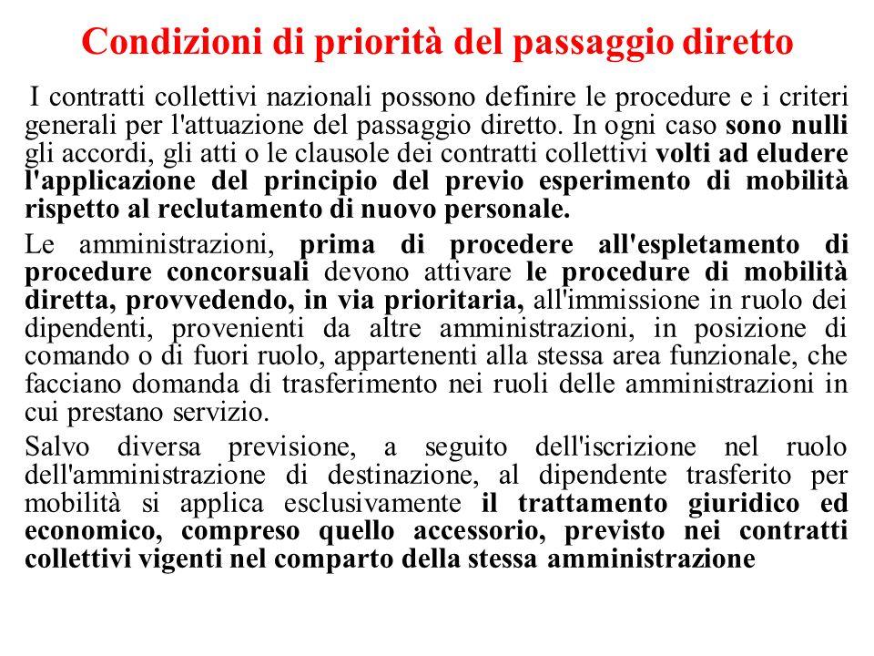 Condizioni di priorità del passaggio diretto I contratti collettivi nazionali possono definire le procedure e i criteri generali per l attuazione del passaggio diretto.
