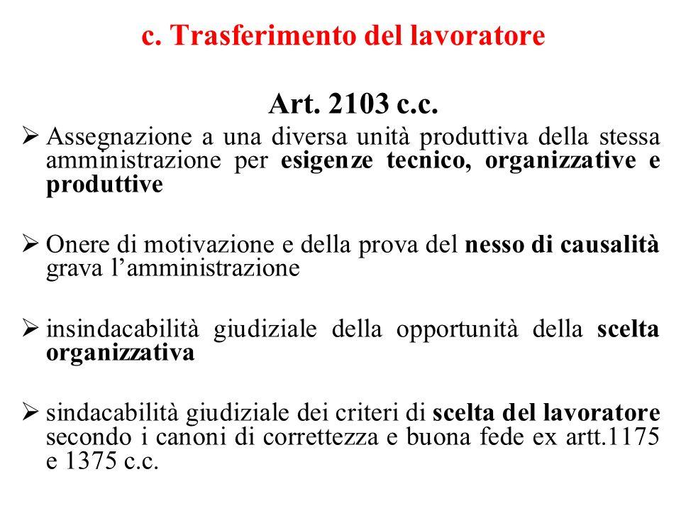 c.Trasferimento del lavoratore Art. 2103 c.c.