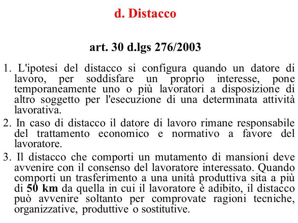 d.Distacco art. 30 d.lgs 276/2003 1.
