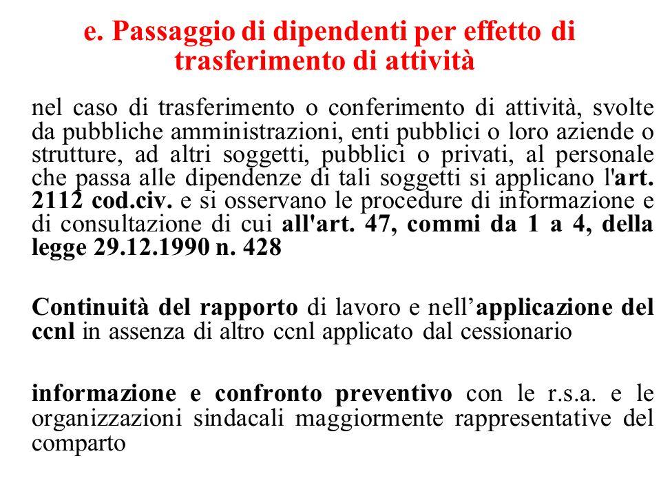 e. Passaggio di dipendenti per effetto di trasferimento di attività nel caso di trasferimento o conferimento di attività, svolte da pubbliche amminist