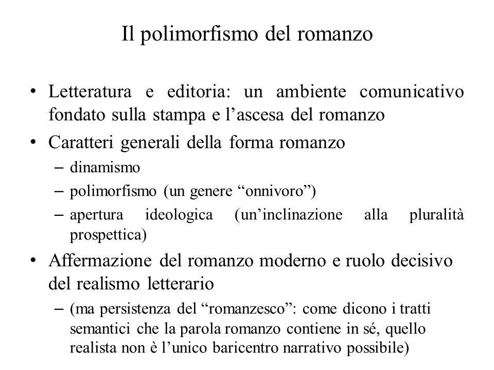 Il polimorfismo del romanzo Letteratura e editoria: un ambiente comunicativo fondato sulla stampa e lascesa del romanzo Caratteri generali della forma