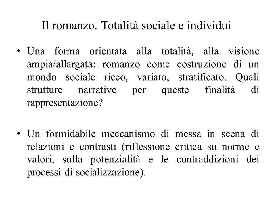 Il romanzo. Totalità sociale e individui Una forma orientata alla totalità, alla visione ampia/allargata: romanzo come costruzione di un mondo sociale