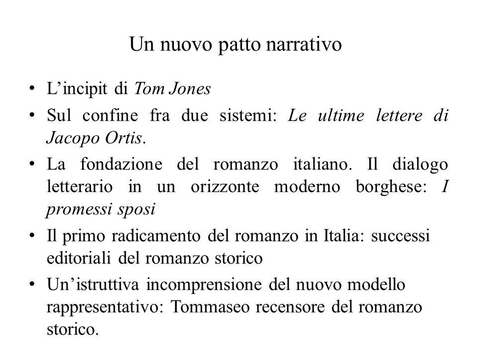 Un nuovo patto narrativo Lincipit di Tom Jones Sul confine fra due sistemi: Le ultime lettere di Jacopo Ortis. La fondazione del romanzo italiano. Il
