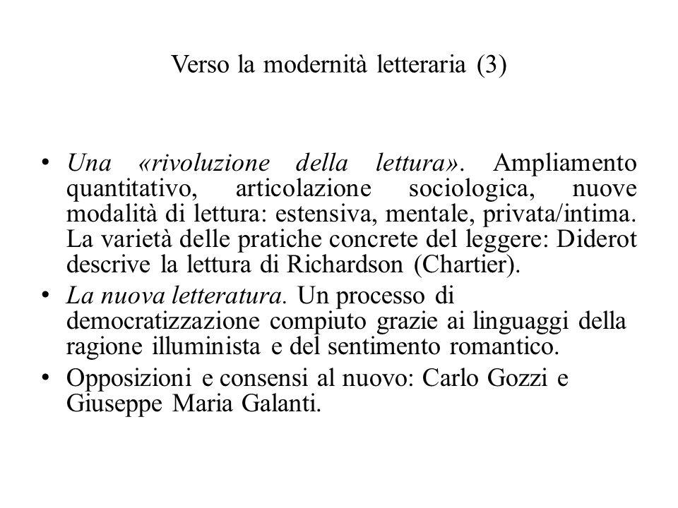 Verso la modernità letteraria (3) Una «rivoluzione della lettura». Ampliamento quantitativo, articolazione sociologica, nuove modalità di lettura: est