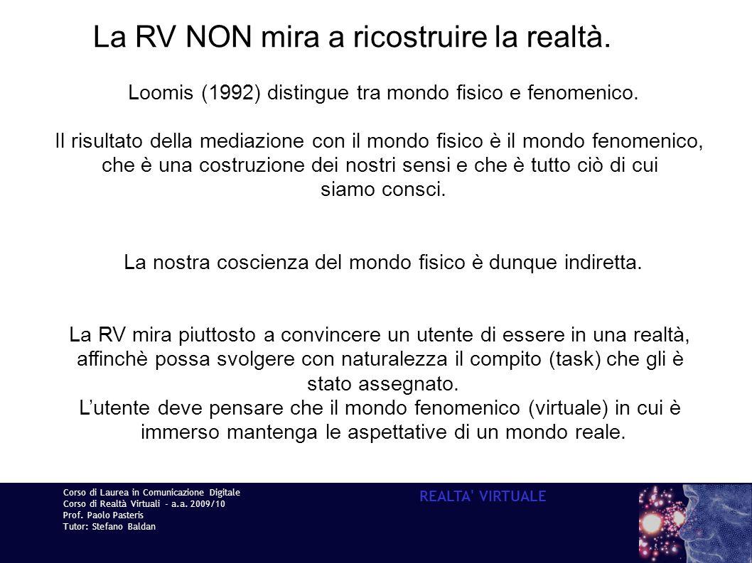 Corso di Laurea in Comunicazione Digitale Corso di Realtà Virtuali - a.a. 2009/10 Prof. Paolo Pasteris Tutor: Stefano Baldan REALTA' VIRTUALE La RV NO