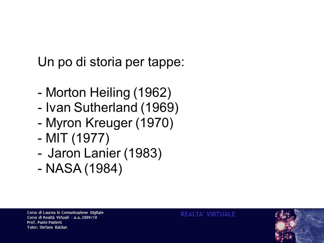 Corso di Laurea in Comunicazione Digitale Corso di Realtà Virtuali - a.a. 2009/10 Prof. Paolo Pasteris Tutor: Stefano Baldan REALTA' VIRTUALE Un po di