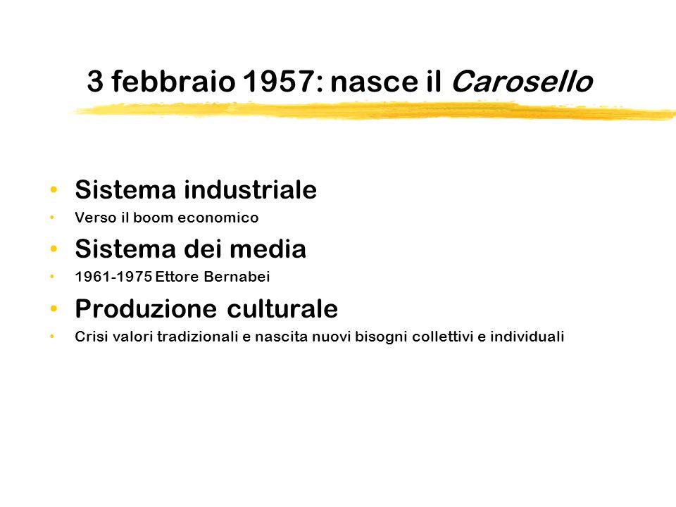 3 febbraio 1957: nasce il Carosello Sistema industriale Verso il boom economico Sistema dei media 1961-1975 Ettore Bernabei Produzione culturale Crisi