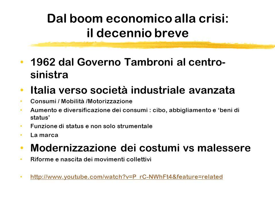 Dal boom economico alla crisi: il decennio breve 1962 dal Governo Tambroni al centro- sinistra Italia verso società industriale avanzata Consumi / Mob