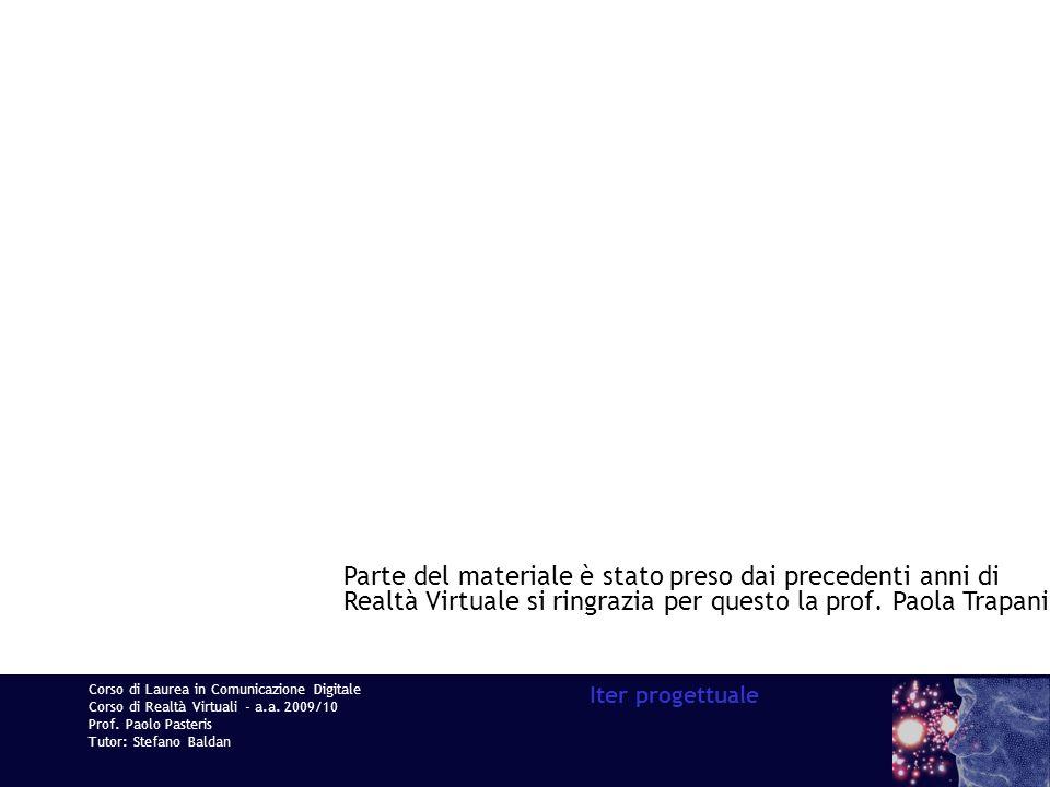 Corso di Laurea in Comunicazione Digitale Corso di Realtà Virtuali - a.a. 2009/10 Prof. Paolo Pasteris Tutor: Stefano Baldan Iter progettuale Parte de