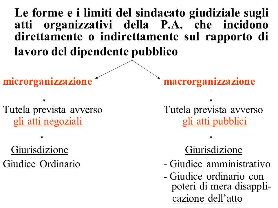 Le forme e i limiti del sindacato giudiziale sugli atti organizzativi della P.A. che incidono direttamente o indirettamente sul rapporto di lavoro del