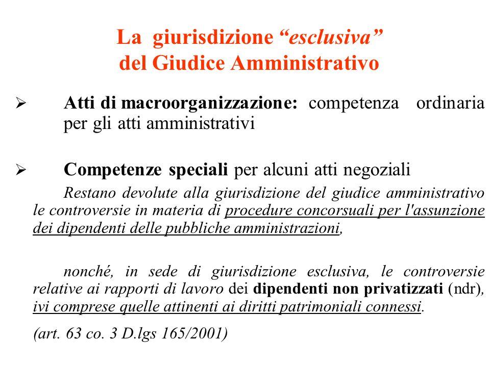 La giurisdizione esclusiva del Giudice Amministrativo Atti di macroorganizzazione:competenza ordinaria per gli atti amministrativi Competenze speciali