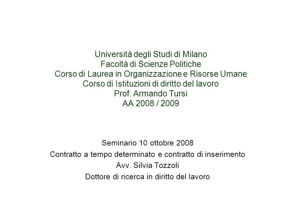 Università degli Studi di Milano Facoltà di Scienze Politiche Corso di Laurea in Organizzazione e Risorse Umane Corso di Istituzioni di diritto del la