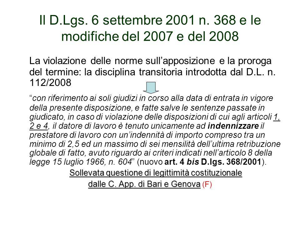 Il D.Lgs. 6 settembre 2001 n. 368 e le modifiche del 2007 e del 2008 La violazione delle norme sullapposizione e la proroga del termine: la disciplina