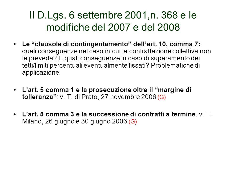 Il D.Lgs. 6 settembre 2001,n. 368 e le modifiche del 2007 e del 2008 Le clausole di contingentamento dellart. 10, comma 7: quali conseguenze nel caso