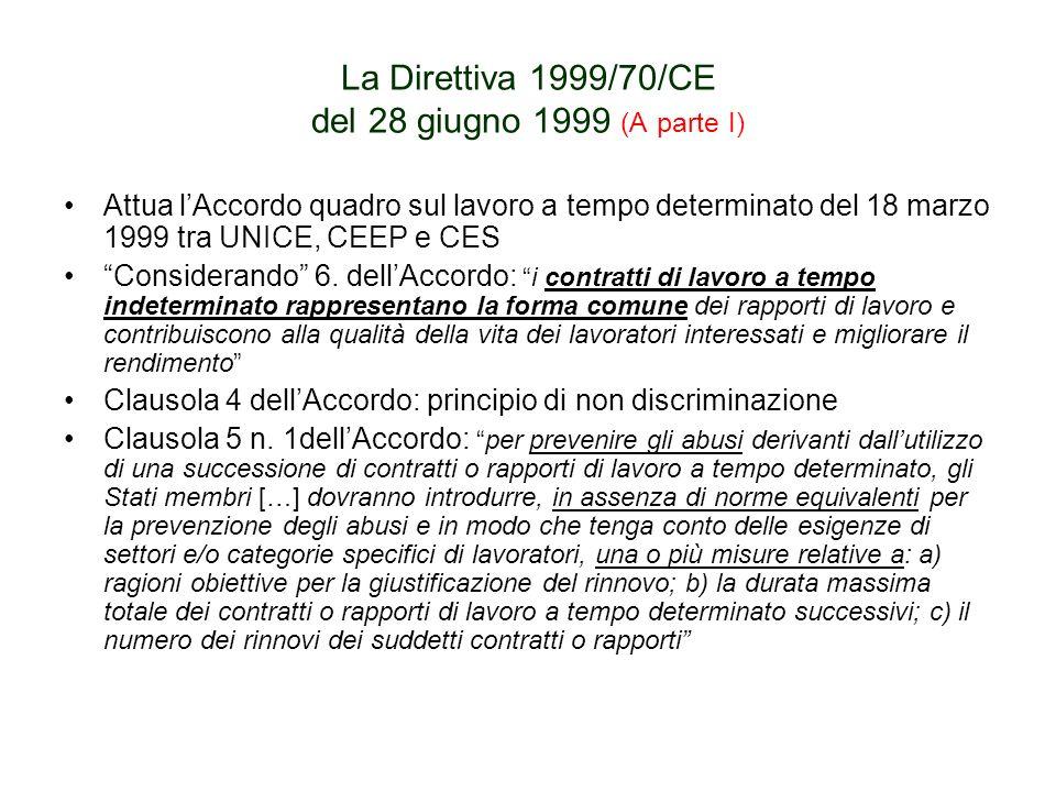 La Direttiva 1999/70/CE del 28 giugno 1999 (A parte I) Attua lAccordo quadro sul lavoro a tempo determinato del 18 marzo 1999 tra UNICE, CEEP e CES Considerando 6.