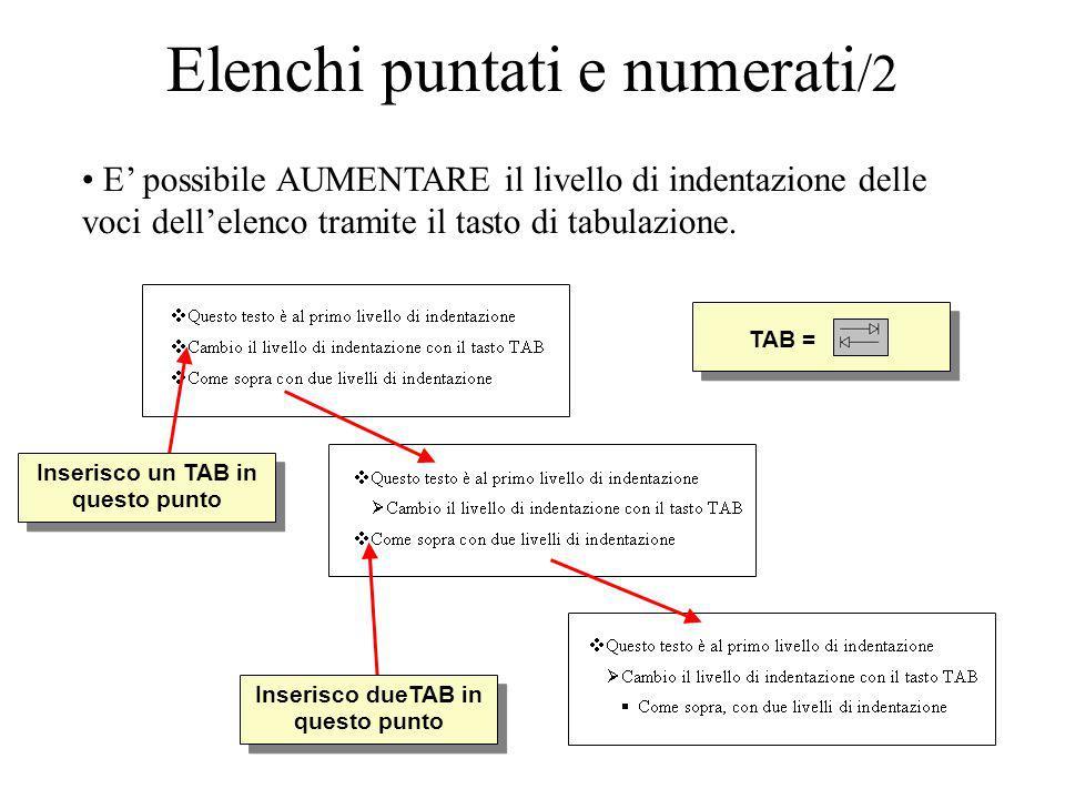 TAB = Elenchi puntati e numerati /2 E possibile AUMENTARE il livello di indentazione delle voci dellelenco tramite il tasto di tabulazione. Inserisco