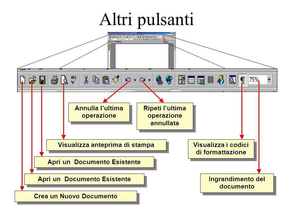 Altri pulsanti Crea un Nuovo Documento Apri un Documento Esistente Annulla lultima operazione Ripeti lultima operazione annullata Visualizza anteprima