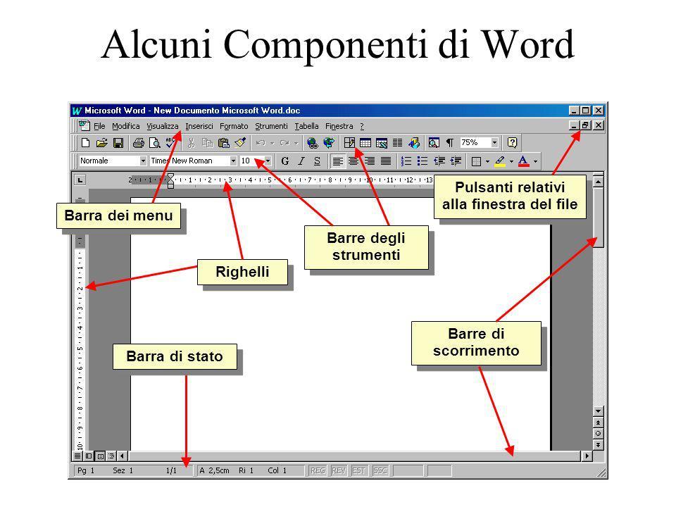 Alcuni Componenti di Word Barre di scorrimento Righelli Barra dei menu Barre degli strumenti Barra di stato Pulsanti relativi alla finestra del file