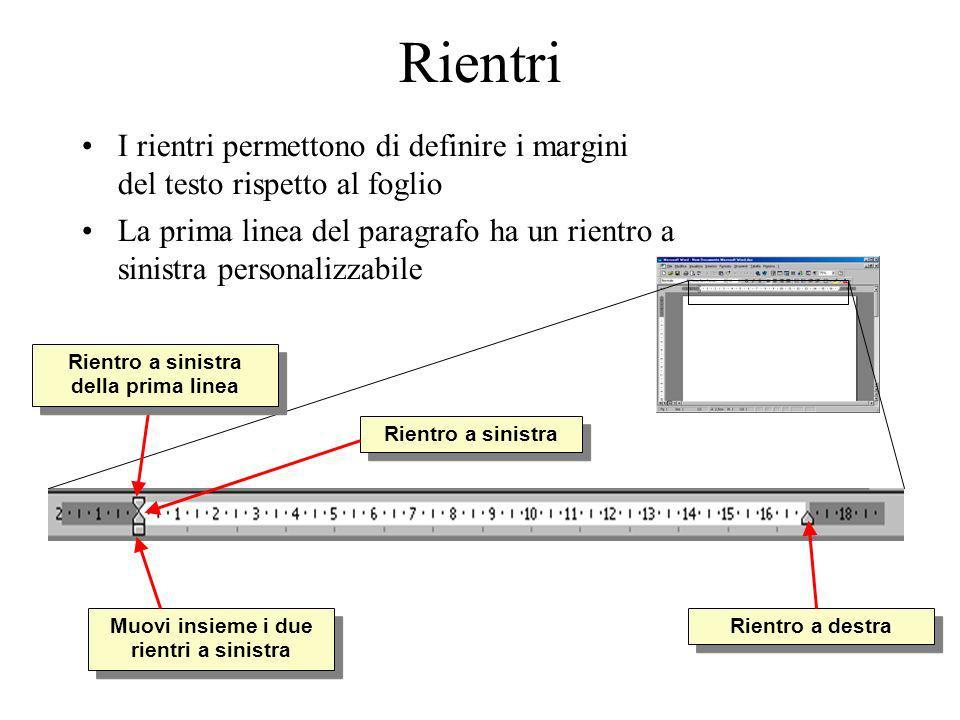 Rientri I rientri permettono di definire i margini del testo rispetto al foglio La prima linea del paragrafo ha un rientro a sinistra personalizzabile