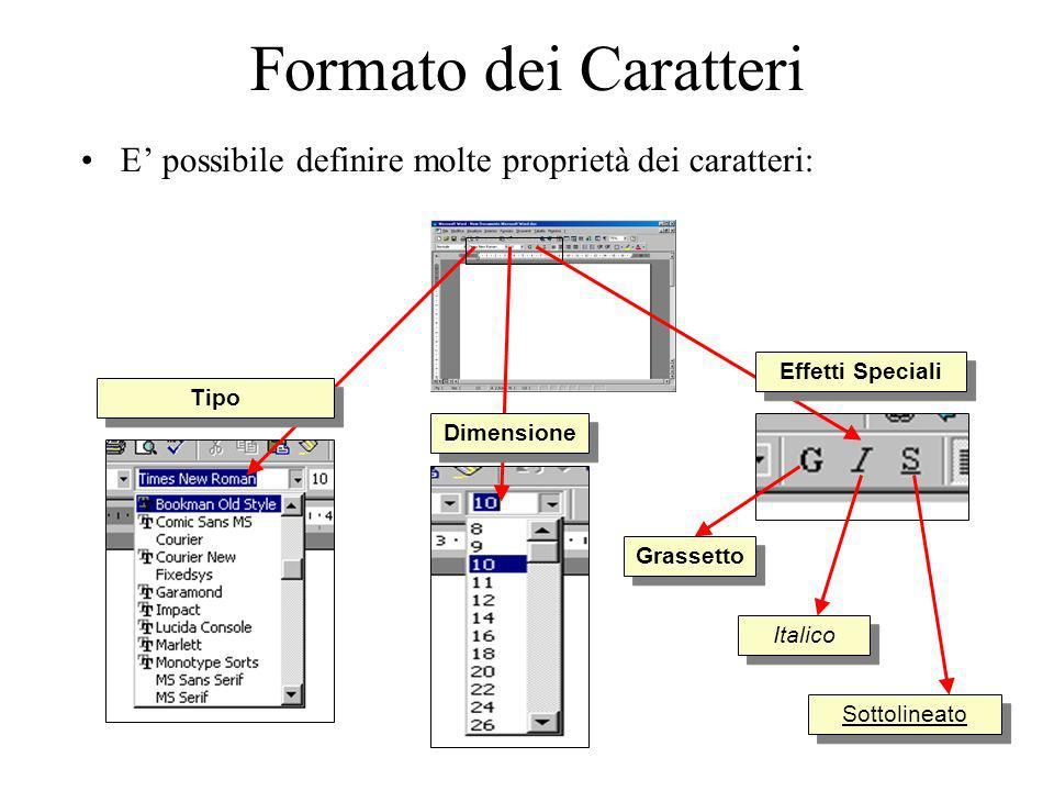 Formato dei Caratteri E possibile definire molte proprietà dei caratteri: Tipo Dimensione Grassetto Italico Sottolineato Effetti Speciali