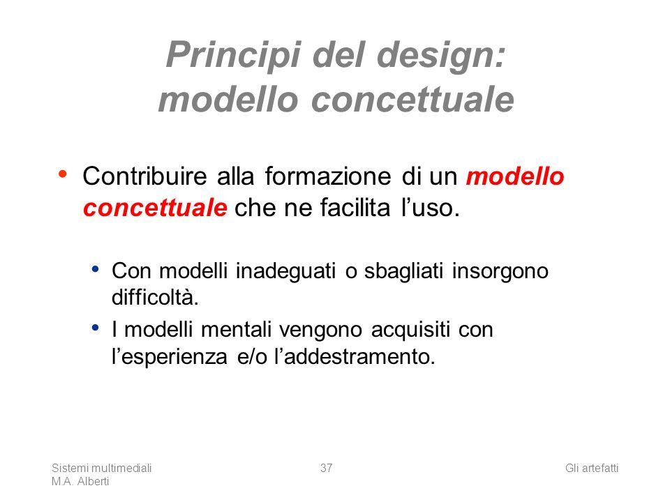 Sistemi multimediali M.A. Alberti Gli artefatti37 Principi del design: modello concettuale Contribuire alla formazione di un modello concettuale che n