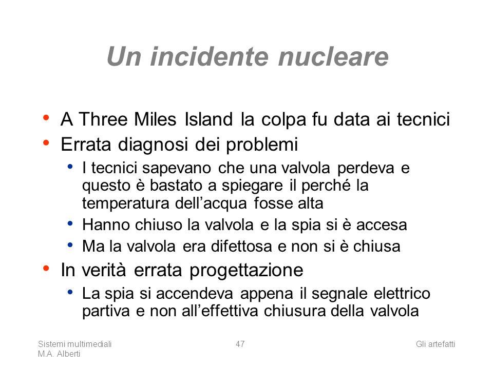 Sistemi multimediali M.A. Alberti Gli artefatti47 Un incidente nucleare A Three Miles Island la colpa fu data ai tecnici Errata diagnosi dei problemi