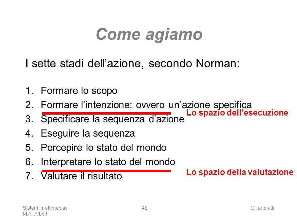 Sistemi multimediali M.A. Alberti Gli artefatti48 Come agiamo I sette stadi dellazione, secondo Norman: 1.Formare lo scopo 2. Formare lintenzione: ovv