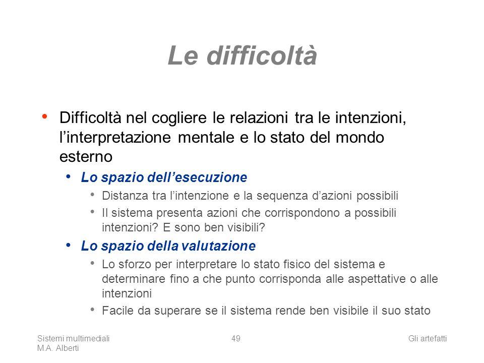 Sistemi multimediali M.A. Alberti Gli artefatti49 Le difficoltà Difficoltà nel cogliere le relazioni tra le intenzioni, linterpretazione mentale e lo