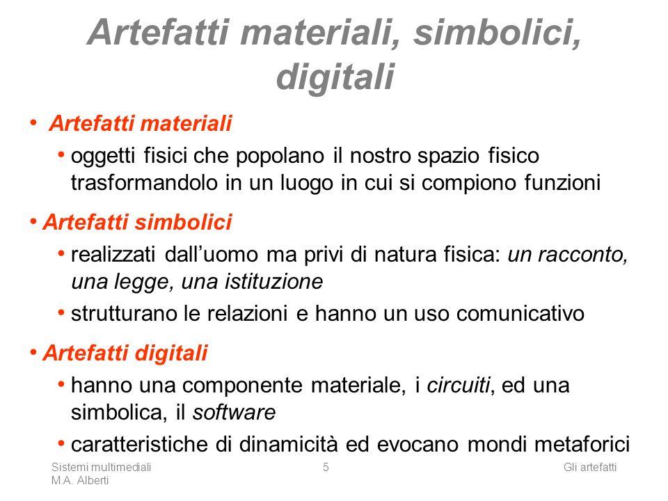 Sistemi multimediali M.A. Alberti Gli artefatti5 Artefatti materiali, simbolici, digitali Artefatti materiali oggetti fisici che popolano il nostro sp