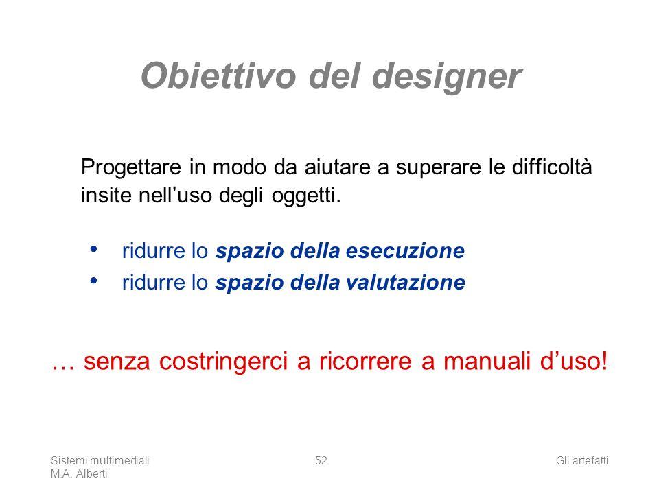 Sistemi multimediali M.A. Alberti Gli artefatti52 Obiettivo del designer Progettare in modo da aiutare a superare le difficoltà insite nelluso degli o