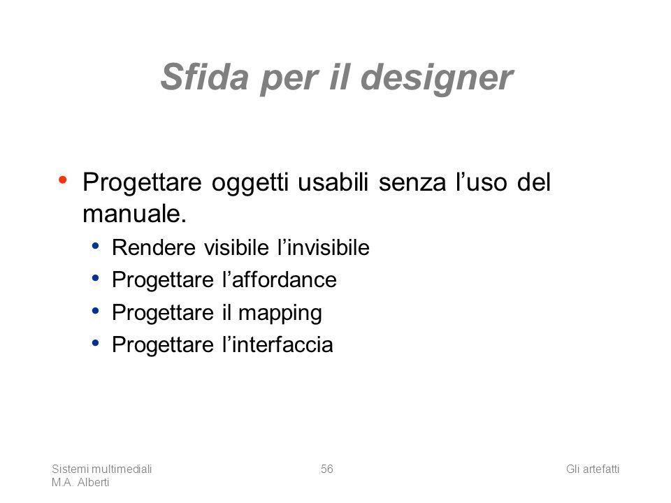 Sistemi multimediali M.A. Alberti Gli artefatti56 Sfida per il designer Progettare oggetti usabili senza luso del manuale. Rendere visibile linvisibil