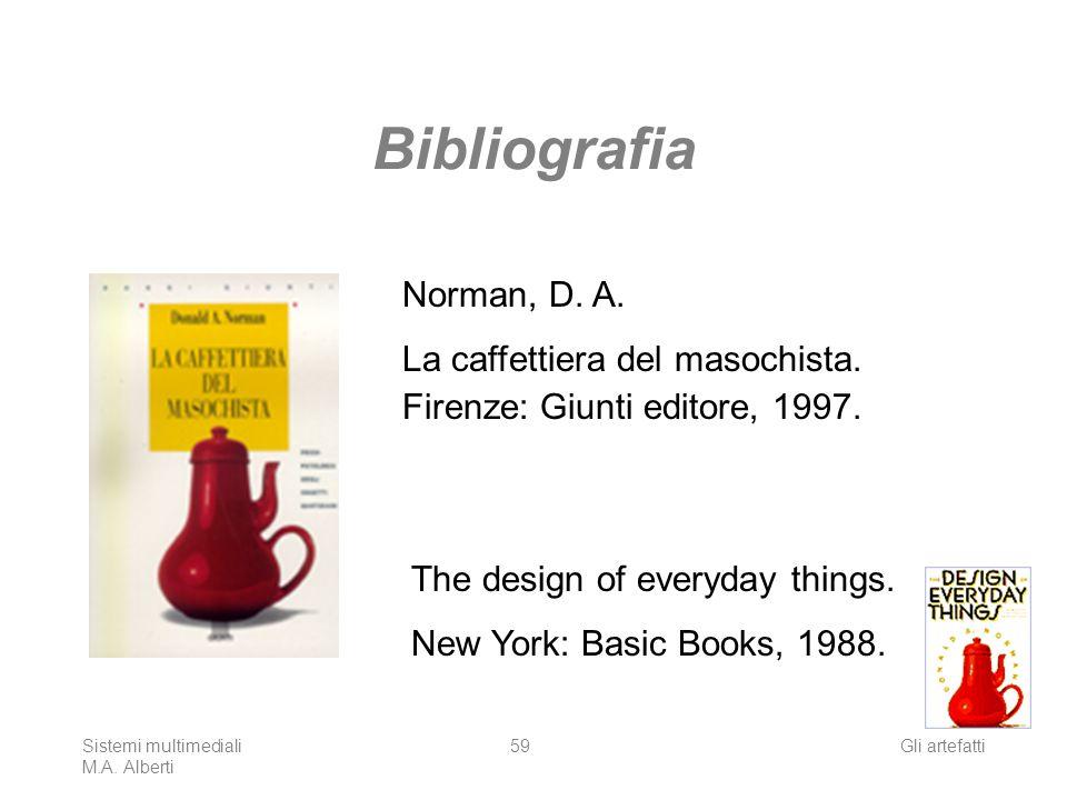 Sistemi multimediali M.A. Alberti Gli artefatti59 Bibliografia Norman, D. A. La caffettiera del masochista. Firenze: Giunti editore, 1997. The design