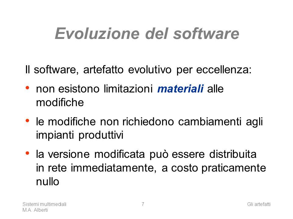 Sistemi multimediali M.A. Alberti Gli artefatti7 Evoluzione del software Il software, artefatto evolutivo per eccellenza: non esistono limitazioni mat