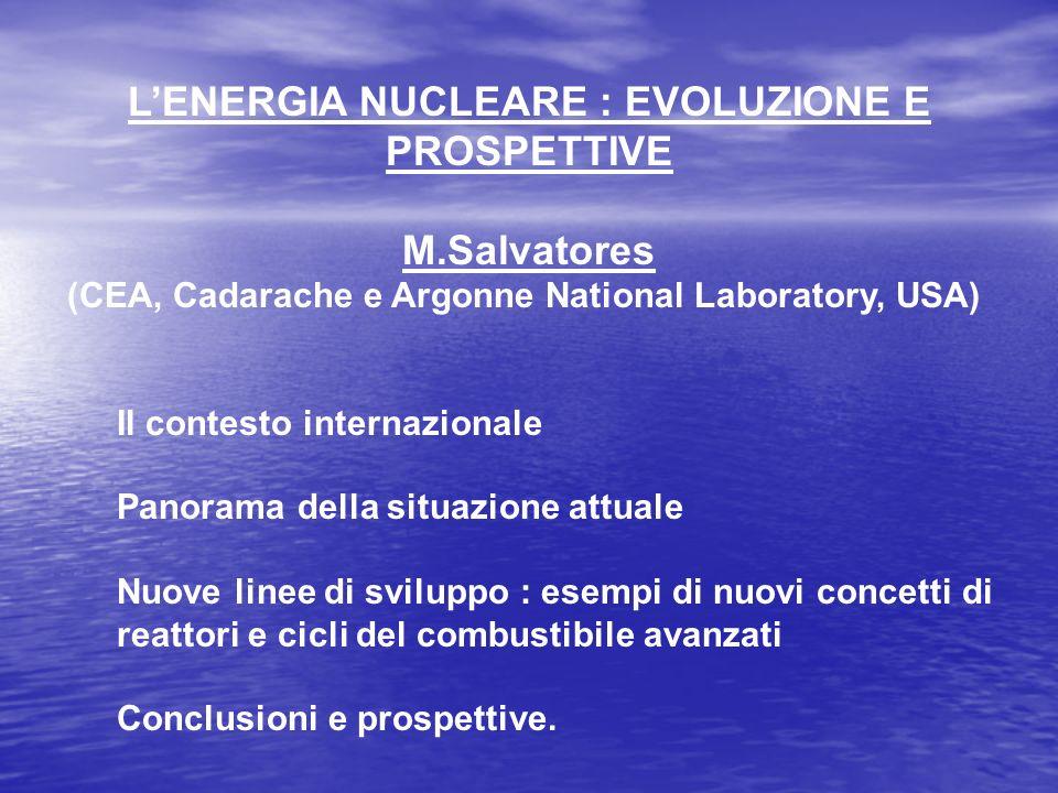LENERGIA NUCLEARE : EVOLUZIONE E PROSPETTIVE M.Salvatores (CEA, Cadarache e Argonne National Laboratory, USA) Il contesto internazionale Panorama dell