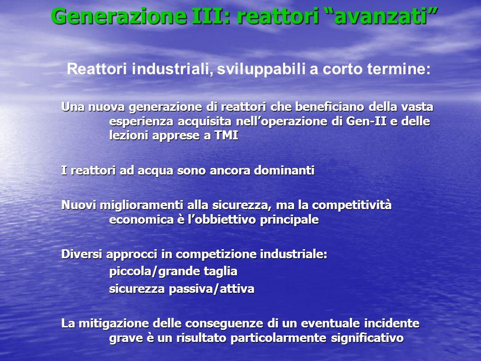 Generazione III: reattori avanzati Una nuova generazione di reattori che beneficiano della vasta esperienza acquisita nelloperazione di Gen-II e delle