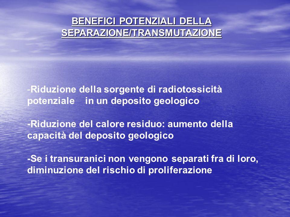 BENEFICI POTENZIALI DELLA SEPARAZIONE/TRANSMUTAZIONE -Riduzione della sorgente di radiotossicità potenziale in un deposito geologico -Riduzione del ca