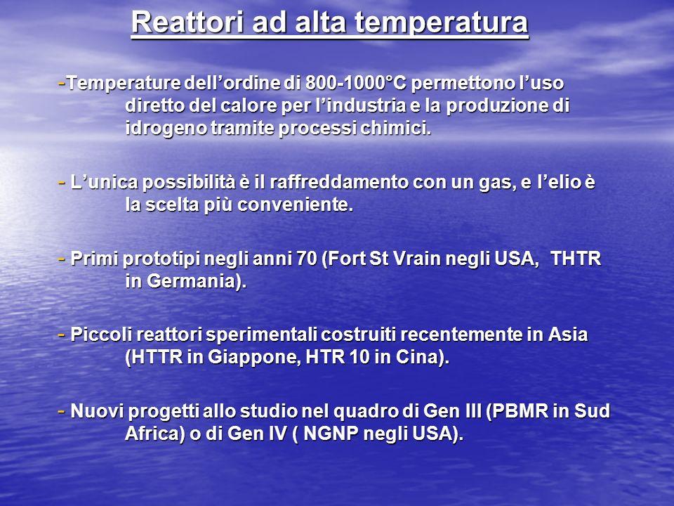 Reattori ad alta temperatura - Temperature dellordine di 800-1000°C permettono luso diretto del calore per lindustria e la produzione di idrogeno tram