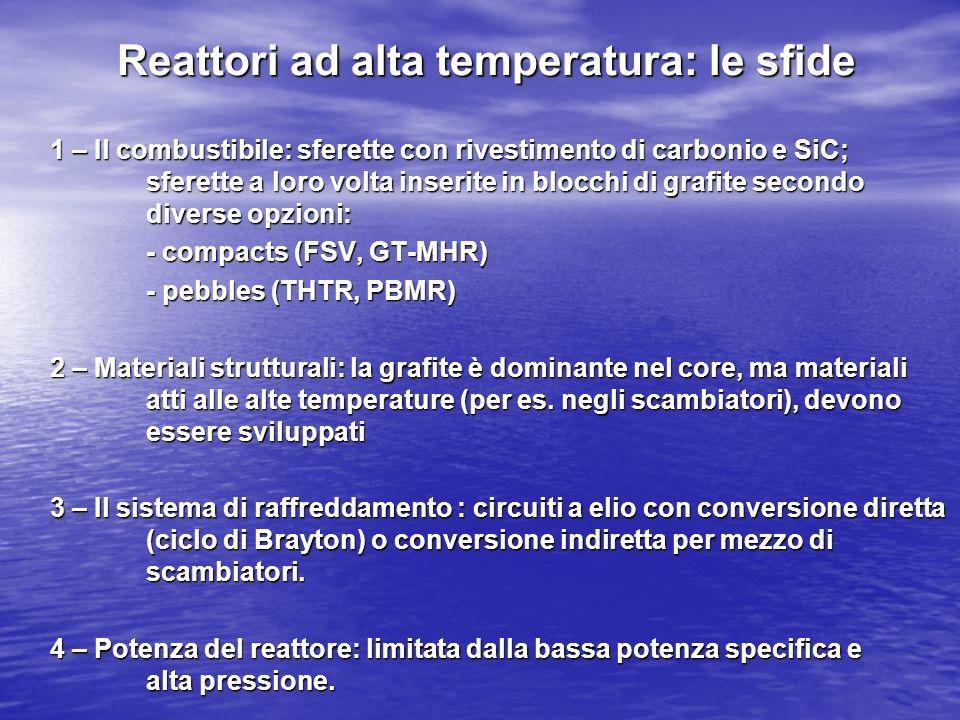 Reattori ad alta temperatura: le sfide 1 – Il combustibile: sferette con rivestimento di carbonio e SiC; sferette a loro volta inserite in blocchi di