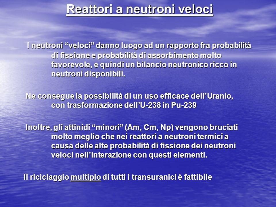 Reattori a neutroni veloci I neutroni veloci danno luogo ad un rapporto fra probabilità di fissione e probabilità di assorbimento molto favorevole, e