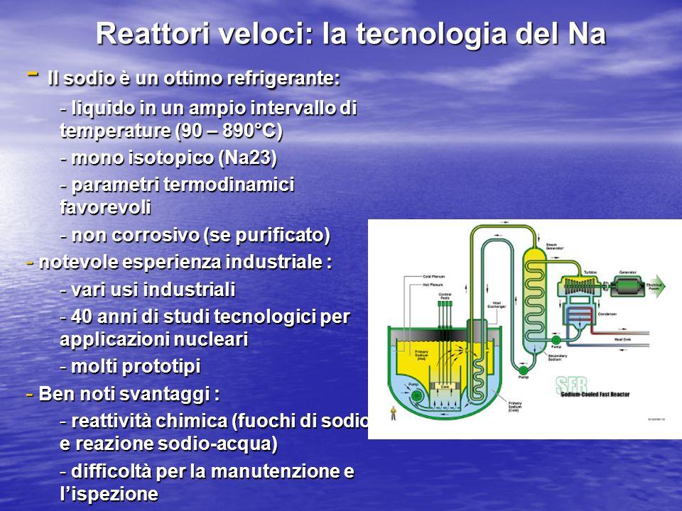 Reattori veloci: la tecnologia del Na - Il sodio è un ottimo refrigerante: - liquido in un ampio intervallo di temperature (90 – 890°C) - mono isotopi
