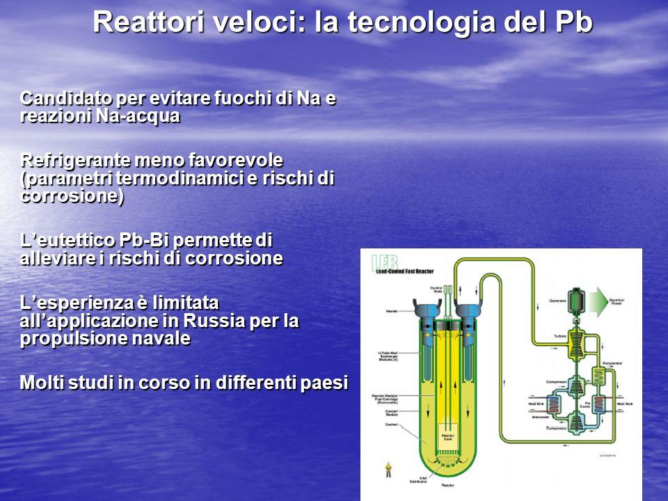 Reattori veloci: la tecnologia del Pb Candidato per evitare fuochi di Na e reazioni Na-acqua Refrigerante meno favorevole (parametri termodinamici e r