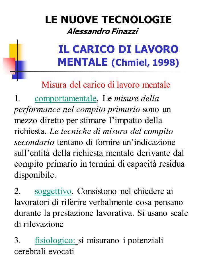LE NUOVE TECNOLOGIE Alessandro Finazzi IL CARICO DI LAVORO MENTALE (Chmiel, 1998) Misura del carico di lavoro mentale 1.