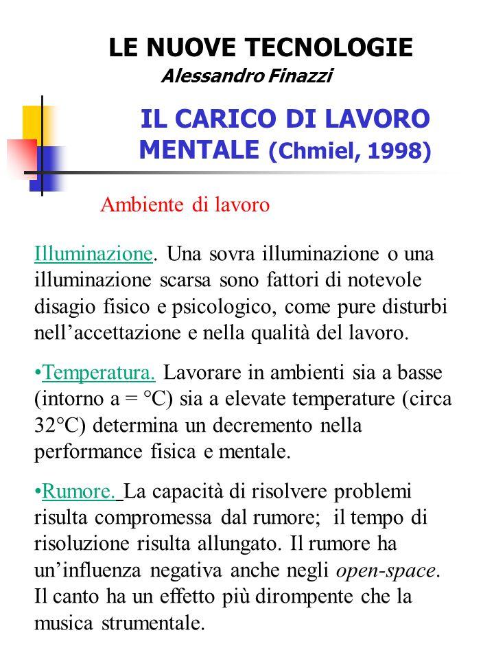 LE NUOVE TECNOLOGIE Alessandro Finazzi IL CARICO DI LAVORO MENTALE (Chmiel, 1998) Ambiente di lavoro Illuminazione.